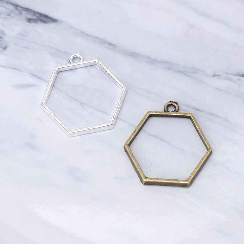 5Pcs Hollow Frame Open Back Bezel Pendant UV Resin Pressed Flower Jewelry Making