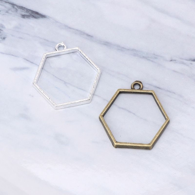 5Pcs Floating Bottles Metal Frame Hollow Pendant Bezels UV Resin Jewelry Making