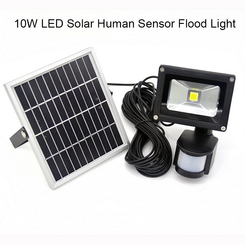 promotion 10W Solar powered LED Flood light with PIR Motion sensor garden Security path wall lamp outdoor led spot lighting 12 led solar powered pir motion sensor light outdoor garden security wall light