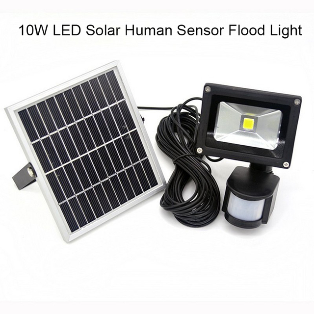 Promotion 10w solar powered led flood light with pir motion sensor promotion 10w solar powered led flood light with pir motion sensor garden security path wall lamp aloadofball Image collections