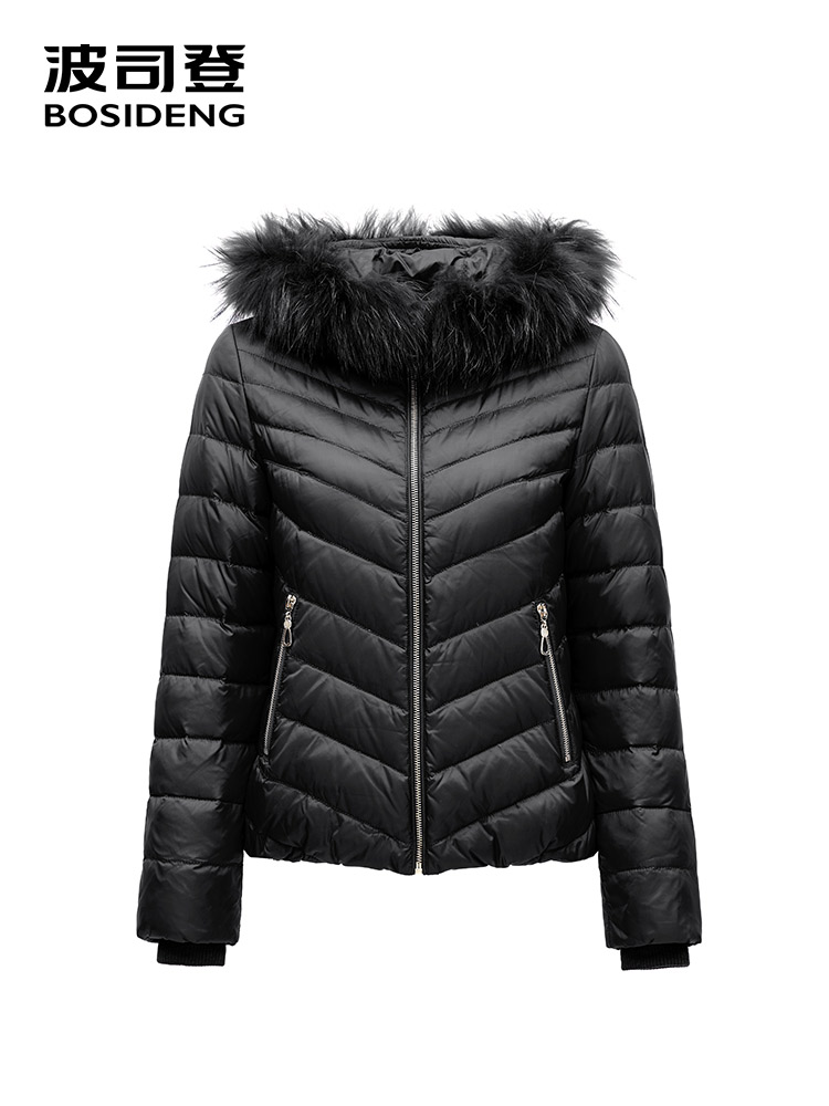 BOSIDNEG winter   down     coat   hooded natural fur collar short top wear light warm high quality black B1501076
