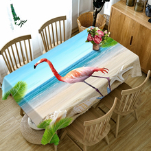Customizable Polyester 3D Round Tablecloth Red Flamingo Sea View Pattern Washable Thicken Cotton Rectangular Dining Table Cloth