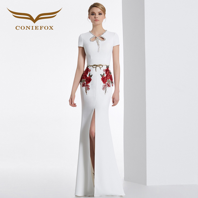 CONIEFOX 31629 white embroidery Fashion sexy Ladies birthday Appliques prom dresses party evening dress gown long  Xmas dress