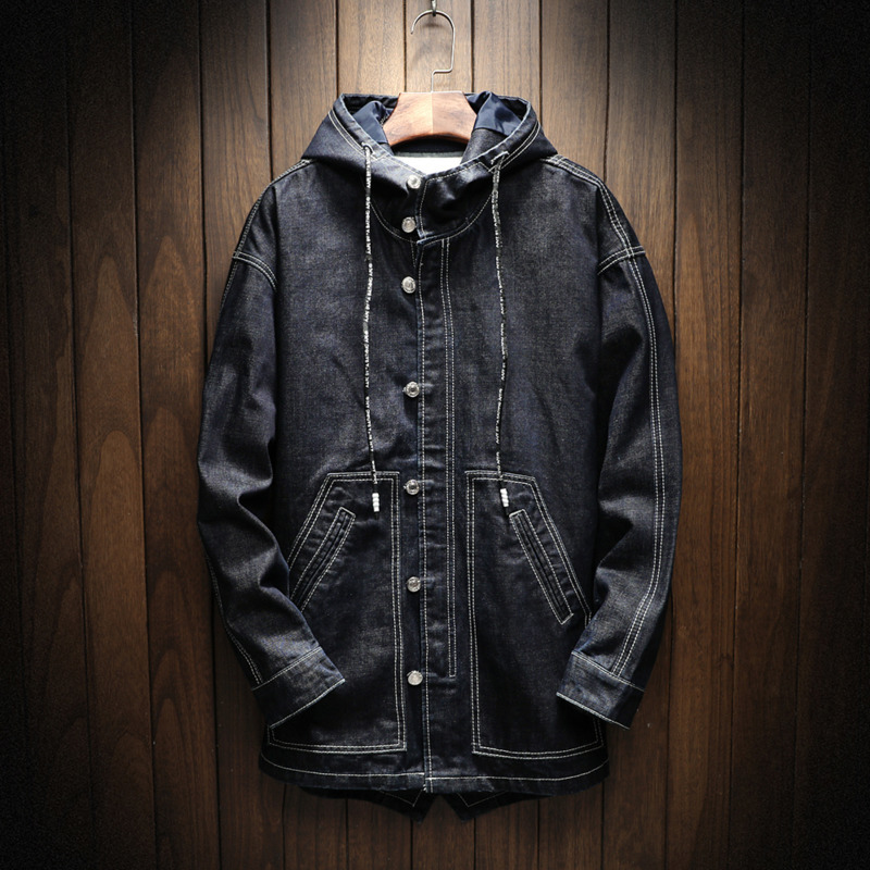 Autumn Winter New Men 39 s Denim Jacket And Coats Hooded Loose Casual Solid Color Retro Simple Fashion Streetwear Outwear Man in Jackets from Men 39 s Clothing
