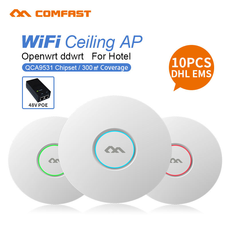10pcs DHL 300Mbps Home Network Wireless Ceiling AP WIFI Router Indoor WIFI Repeater Wifi Extender Access Point 2dBi antenna AP