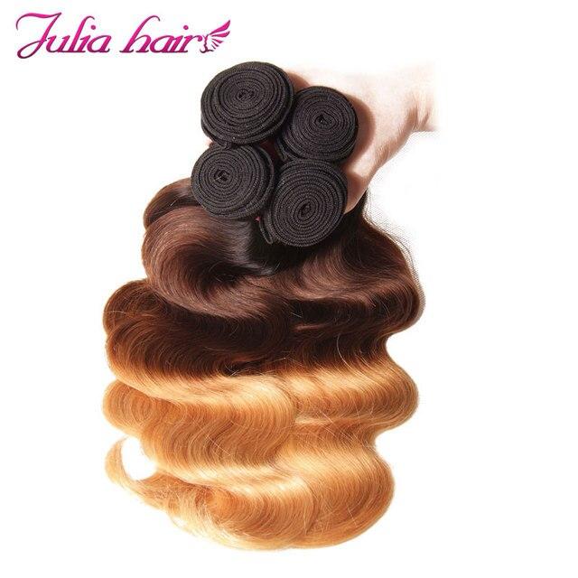 Ali Julia włosów brazylijski Ombre Hair ciało fala 3 zestawy ludzkich włosów splot T1B/4/27 kolorowe włosy typu remy rozszerzenia podwójne wątku|weft hair extensions|weft human hair extensionsweft bundles -