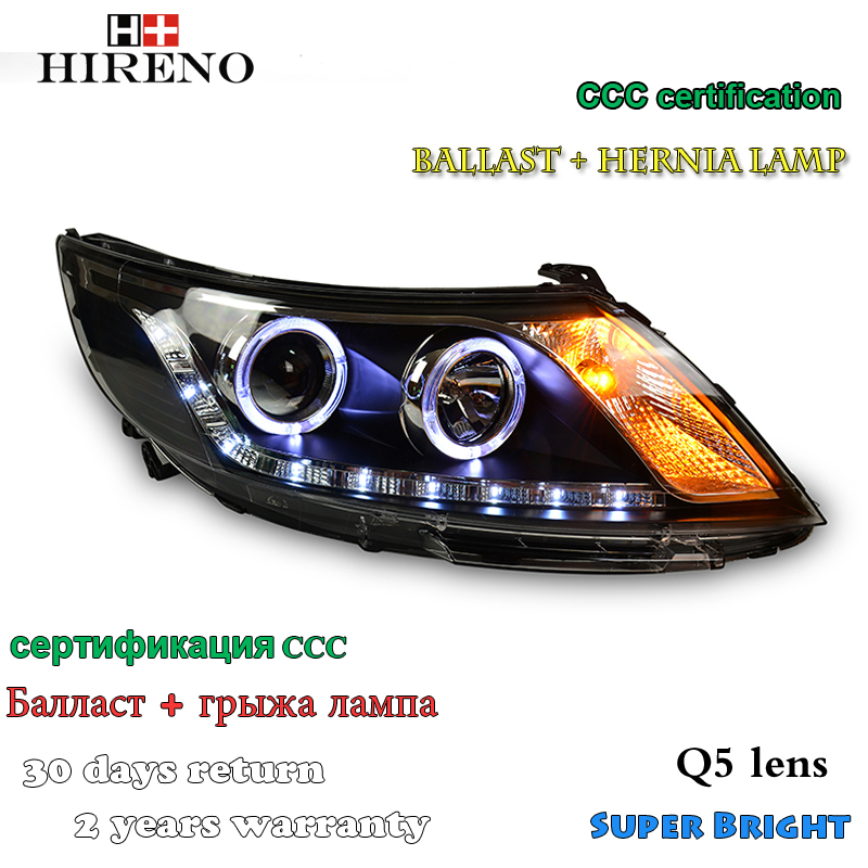 Hireno Headlamp for 2010-2014 KIA K2 RIO Headlight Assembly LED DRL Angel Lens Double Beam HID Xenon 2pcs headlight for kia k2 rio 2015 including angel eye demon eye drl turn light projector lens hid high low beam assembly