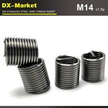 M14* 3D* 1,5 P, 30 шт., Тонкая нить из нержавеющей стали фиксатор резьбовых соединений, 304 из нержавеющей стали коррозионной стойкости вставка винта