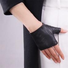 Genuine Leather Gloves Ultra-Thin Pure Sheepskin Black Half Fingerless Ultra-Short Driving  Female Models TB02