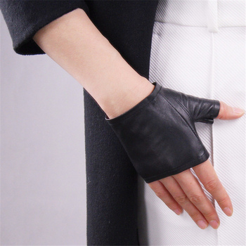 цена на Genuine Leather Gloves Ultra-Thin Pure Sheepskin Black Half Fingerless Ultra-Short Gloves Driving  Female Models TB02