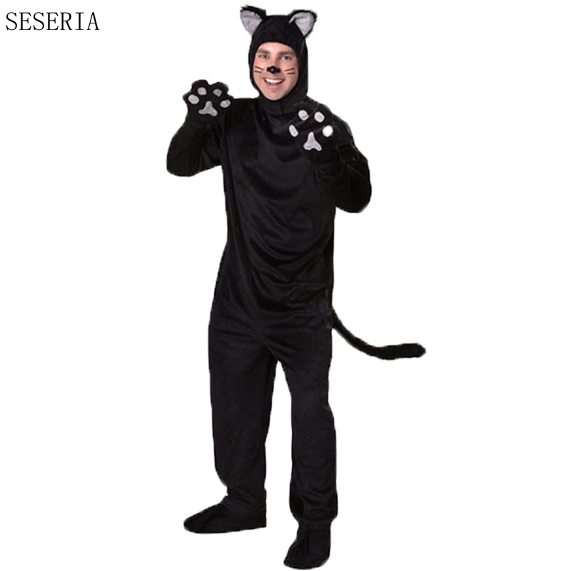 SESERIA Winter Halloween Adult Black Cat For Men Mans Cosplay Costumes Attached Cuddly Animal Clothes