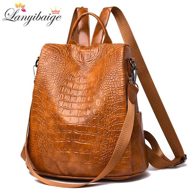 3-in-1 Women Backpacks Vintage Female Shoulder Bags Soft Leather Ladies Travel Backpack Luxury Women School Bags For 2019 New