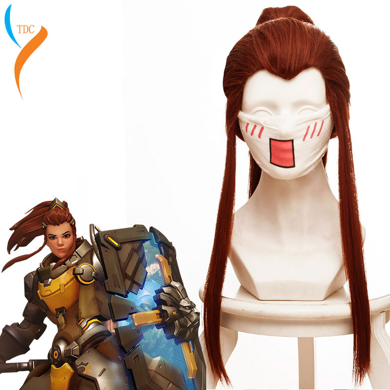 High Quality Game  Brigitte Wigs Brigitte Heat Resistant Synthetic Hair Red Brown Ponytail Cosplay Wig+ Wig Cap