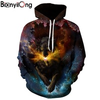 BIANYILONG New Fashion Wolf Hoodies Men Women 3d Sweatshirts Print Double Wolf Thin Hoody Hooded Hoodies