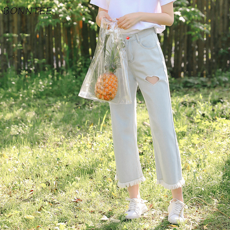Jeans   Women Leisure All-match Simple Solid Korean Style Loose Harajuku Wstreetwear Womens High Quality Sweet Clothing Ladies