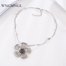 WNGMNGL New 2018 Women Necklace Vintage Antique Sliver Color Flower Pendant For Statement Sweater Fashion Jewelry