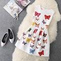 2017 весной и летом женщин старинные печати тонкая талия тонкая puff рукавов жилет цельный dress