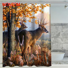 WONZOM 1Pcs Deer Waterproof Shower Curtain Lion Bathroom Decor Horse Decoration Animal Cortina De Bano 2017 Bath Curtain Gift