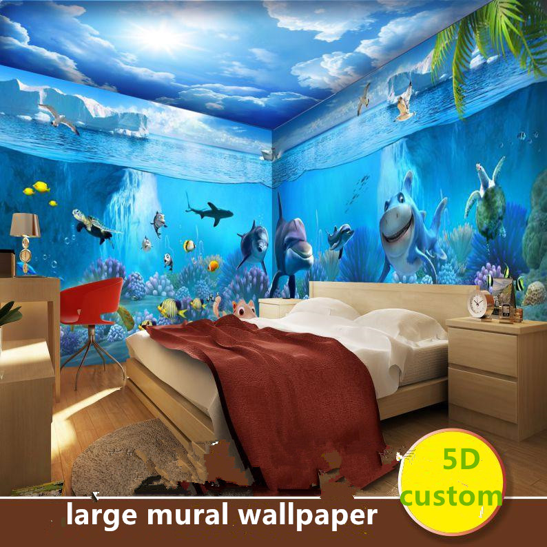 Custom 5D Silk Large Mural Wallpaper 3d Wall Covering  Underwater World Dolphin Shark Fairy Tale World Baby Bedroom Living Room