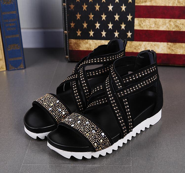 Da Do Masculinas Roma Praia Strass Dos Casuais Preto Sapatos Fivela Sandálias Verão Homens Nova Moda Com Couro Zíper De qnB1Axxwv