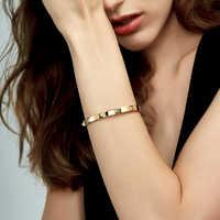 Enfashion pyramid spikes pulseira manchette cor do ouro pulseira de aço inoxidável para mulheres manguito pulseiras pulseiras pulseiras