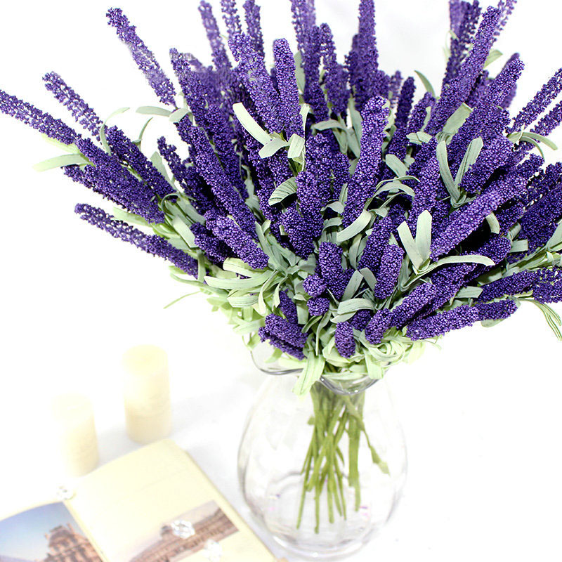 12 heads artificial lavender silk flower bouquet wedding for Artificial leaves for decoration