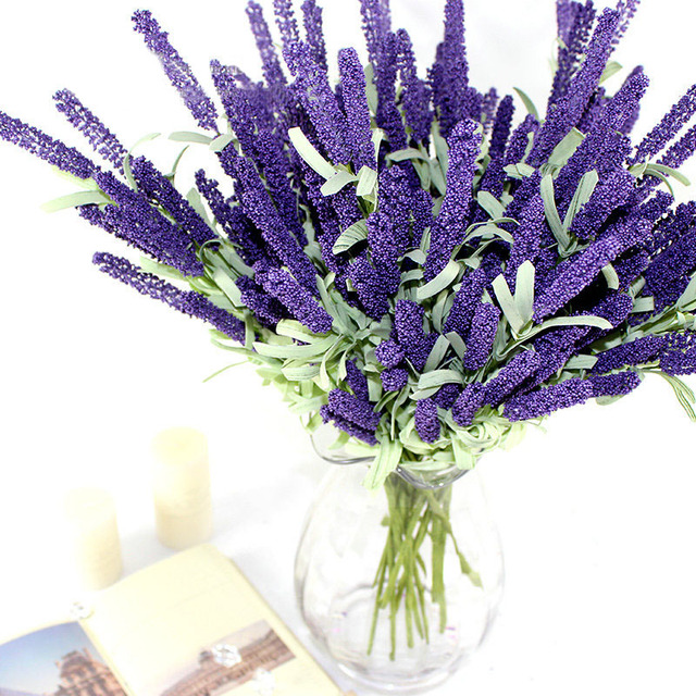 12 Heads Artificial Lavender Silk Flower Bouquet Wedding Home Party ...