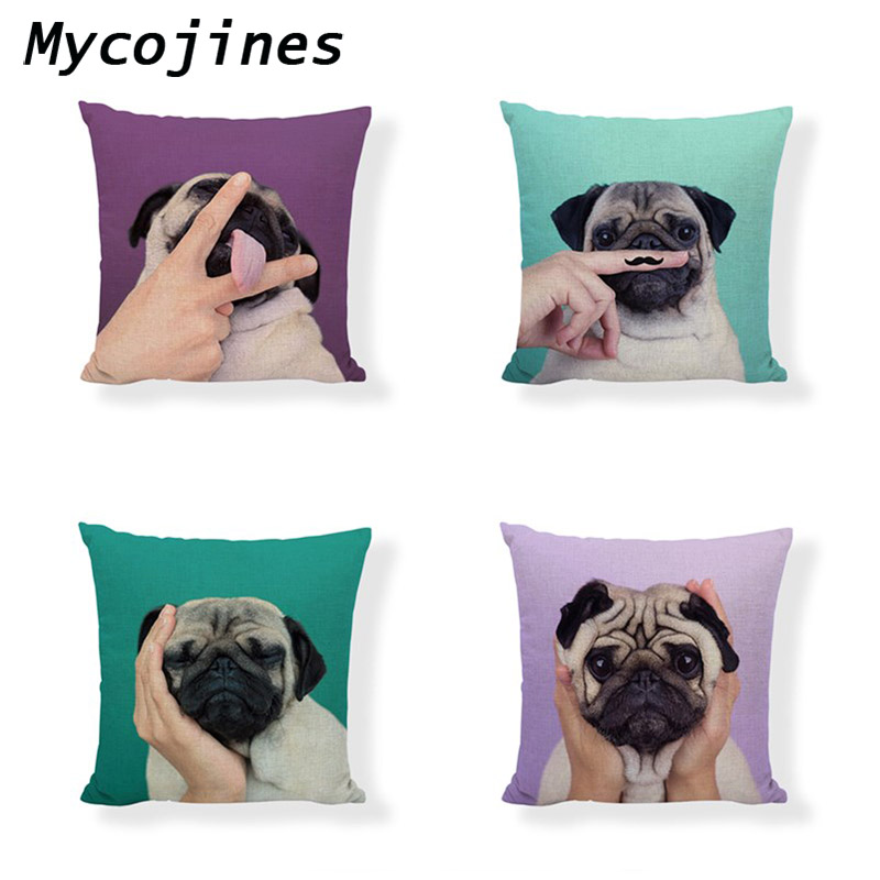 Cute Pug Cushion Cover Linen Material 45*45 cm Throw Pillow Covers Kid Birthday Gift Bedroom Sofa Bed Decoration Pillow Case