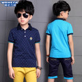 Children's garments big boys 2016 summer new casual cotton short sleeveTurn-down Collar fashion T-Shirt Korean style joker top