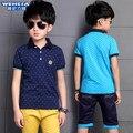 Ropa de los niños grandes muchachos 2016 del verano del nuevo algodón ocasional de la corto sleeveturn-abajo al Collar de moda T-Shirt estilo Coreano joker top