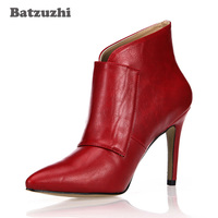 Batzuzhi Luxury Italian Style Women Shoes Pointed Toe Buckles Red Black Leather Women Ankle Boots 9.8cm Heels Botas Mujer