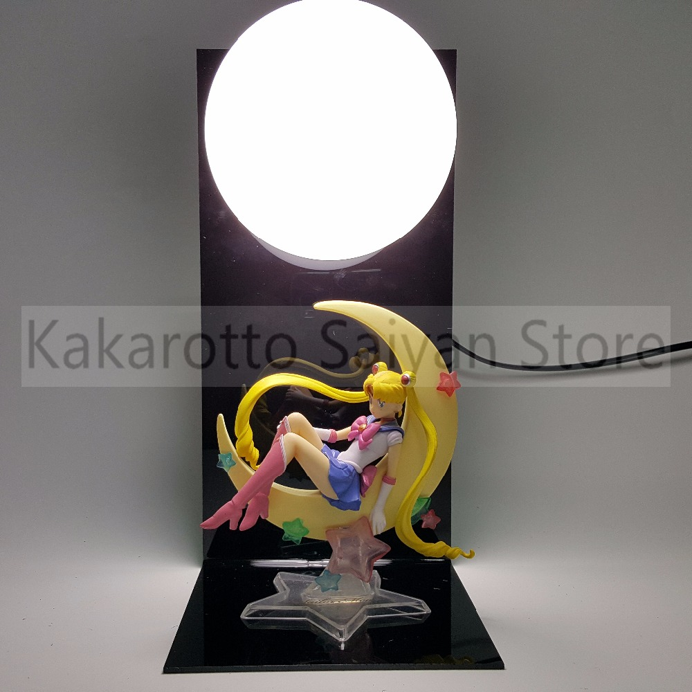Sailor Moon Action Figures Tsukino Usagi With Moon DIY Collectible Model Toys Anime Sailor Moon +Base+Blub moon flac jeans