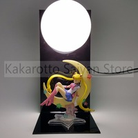 Sailor Moon Action Figures Tsukino Usagi With Moon DIY Collectible Model Toys Anime Sailor Moon +Base+Blub