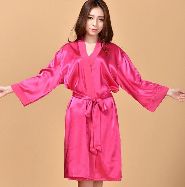 Шелковый атлас невеста халат с длинными рукавами халат ночь кимоно одеяние большой размер банный халат элегантный халат для женщин