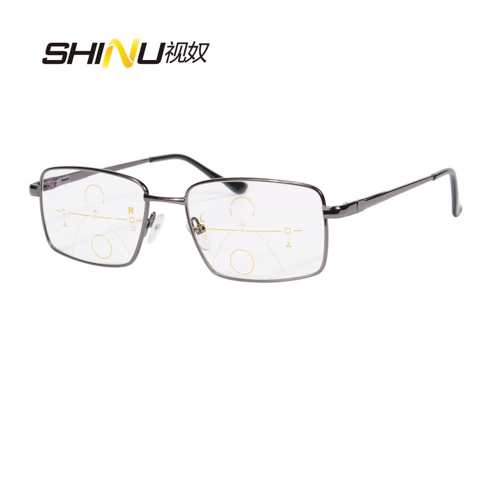 Nov prihod Prihodi SHINU progresivna večfokalna očala za branje Celoten kovinski okvir Presbyopia očala lahko vidite bližnja in daljna očala