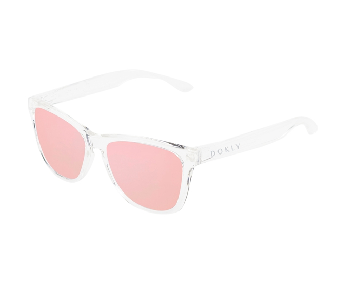 Dokly lens rose gold sunglasses clear frame women Reflective Coating Square Sun Glasses Women Brand Designer Oculos De Sol