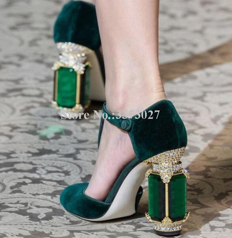 Royal Green Velvet Gemstone Embellished