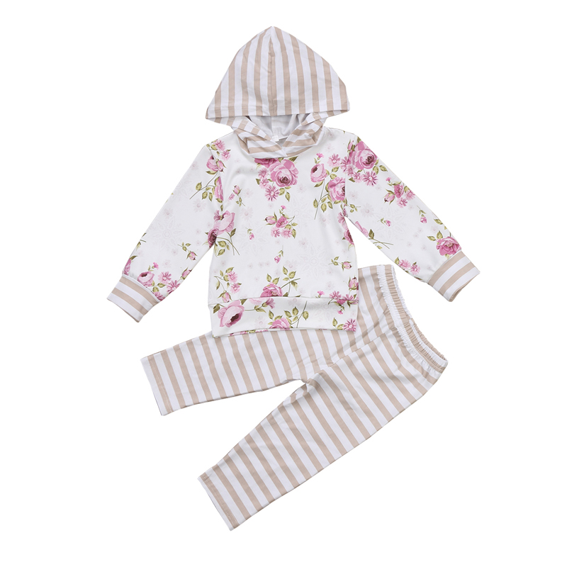 2PCS New Casual Infant Baby Girls Clothes Floral Long Sleeve Hooded Hoodie Tops+Striped Leggings Pants Outfits Set