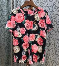 2019 Summer womens floral print Tee shirt Chic women cotton beading T-shirts Tops A122
