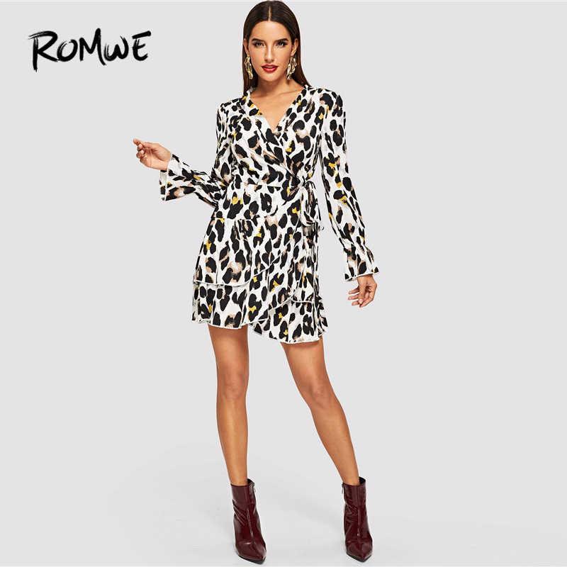3630fa402d65a ROMWE Flounce Sleeve Leopard Print Sexy Dresses Woman Party Night Autumn  Casual Shawl Collar Womens Clothing Sheath Dress