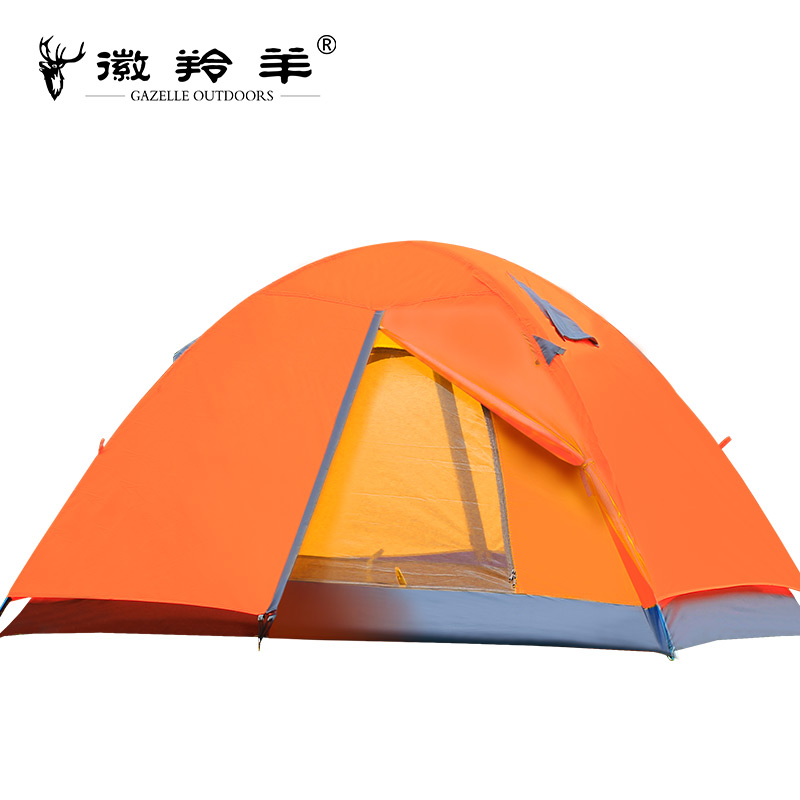 2-3 person Waterproof Anti UV Double Layer Camping Tent Ultralight Outdoor Hiking Tent Pole Picnic Travel Hike with Carrying Bag yingtouman outdoor 2 person waterproof double layer tent fiberglass rod portable ultralight camping hikingtents