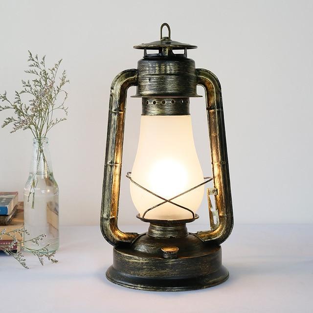 Elegant Retro Vintage Kerosene Lantern Table Lamp For Cafe Bar Living Room Bedroom  Bedside Iron Glass Desk