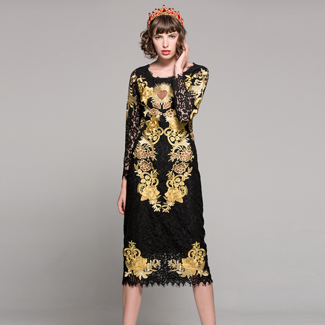 bc58df30e1165 Vintage Luxury Lace Gold Embroidery Dress 2018 Spring Summer Runway ...