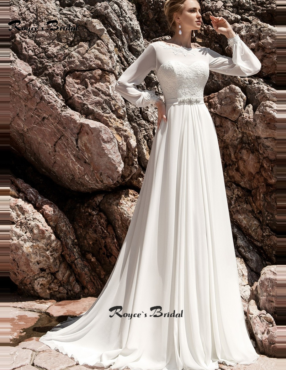 Unique Style Bohemian Wedding Dresses Sweep Train Chiffon Beach Bridal Gown O Neck Lantern Sleeve Vestidos De Novia In From Weddings