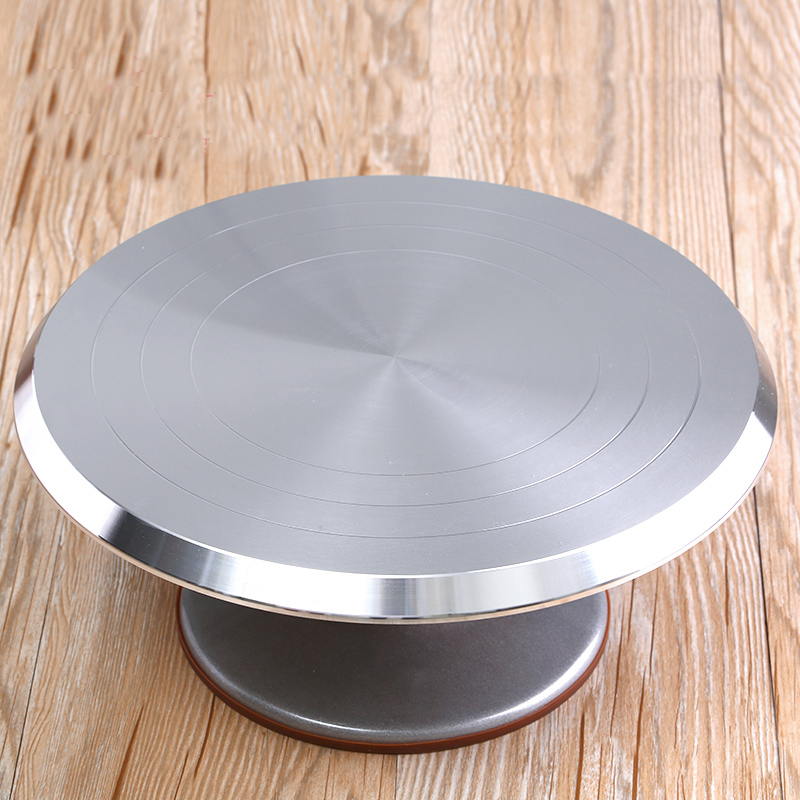 12 Inch Aluminum Alloy Cakes Decoration Turntable Manually Rotating Round Shaped Cake Stand Cake Mounting Pattern Tool