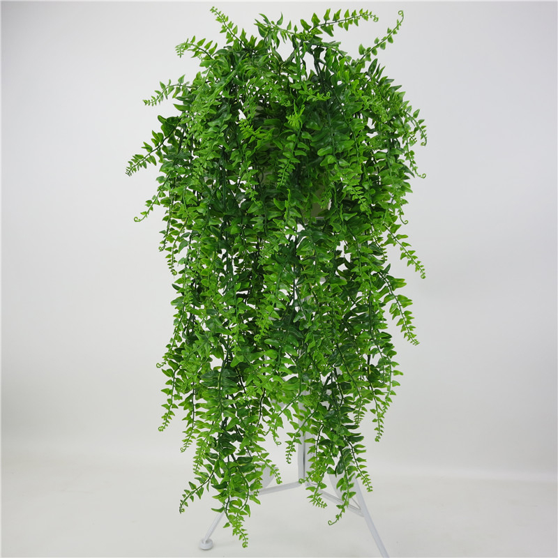 5 forks Artificial Pearls Fleshy green Vine Ivy branches wall Hanging Plastic Rattan plant fall home wedding decoration flowers