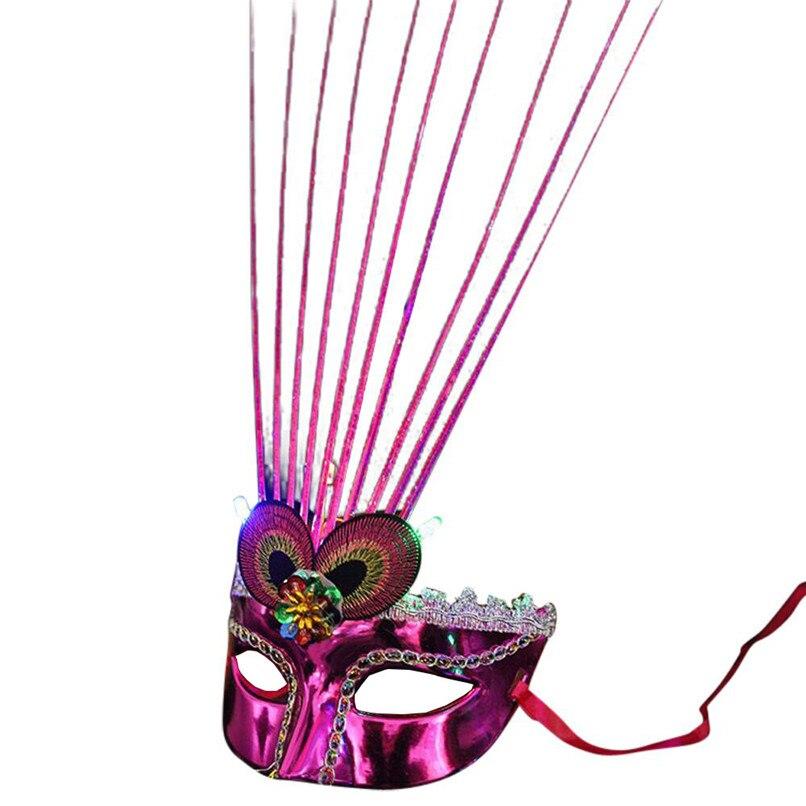 Women Venetian Peacock <font><b>LED</b></font> Fiber <font><b>Mask</b></font> Masquerade Fancy Dress Party Princess Feather <font><b>Masks</b></font> Wholesale Free Shipping 30Raug9 #1T3