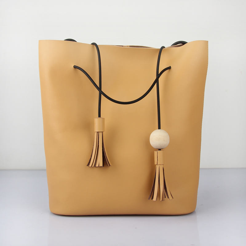 ФОТО Fashion Designer Women Large Vintage Tassel Handbags Lady Casual Style Split Leather Bucket Tote Bag Soft Shoulder Bag Bolsos