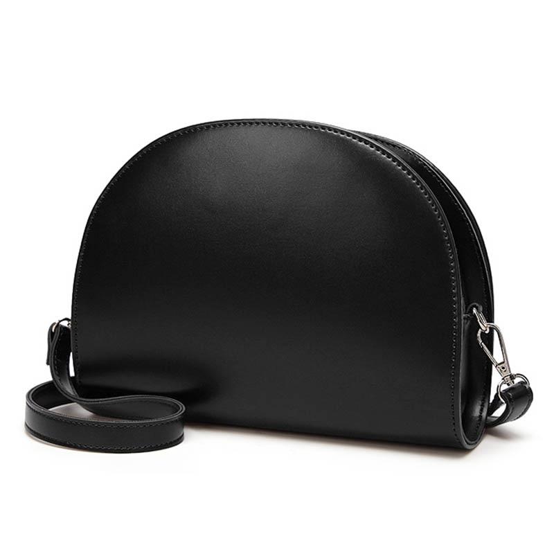 Женская сумка через плечо из искусственной кожи на молнии, полукруглая Сумочка, простая повседневная сумка-мессенджер, подарок, Новинка
