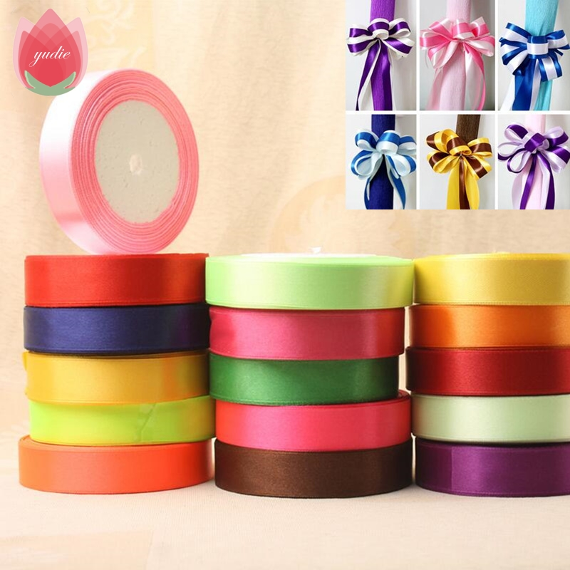 Pretty 20mm 25 Yard Pretty Silk Satin Ribbon Bröllopsfest Juldekoration Presentförpackning Scrapbooking Supplies Riband